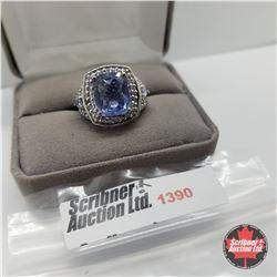 Ring - Size 10: Blue Topaz - Sterling Silver - Platinum Bond Overlay