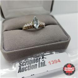 Ring - Size 10: Sky Blue Topaz - Sterling Silver - Platinum Bond Overlay