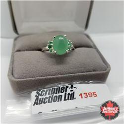 Ring - Size 10: Emerald Quartz Simulated Green Diamond - Sterling Silver