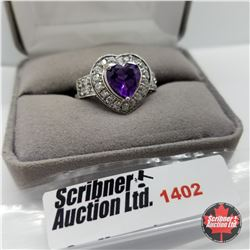 Ring - Size 10: Amethyst Heart (Platinum Bond)