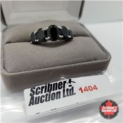 Ring - Size 10: Black Spinel - Sterling Silver - Platinum Bond Overlay