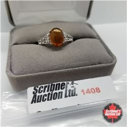 Ring - Size 10: Baltic Amber White Topaz - Sterling Silver - Platinum Bond Overlay