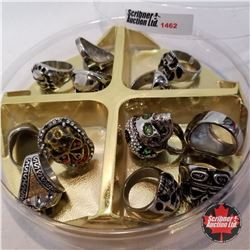 Jewellery Grouping: 12 Skull Rings (Asst Size) Stainless Steel