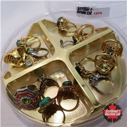 Jewellery Grouping: 16 Rings Green Theme Assorted Sizes