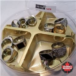 Jewellery Grouping: 12 Rings Assorted Sizes, Square Theme