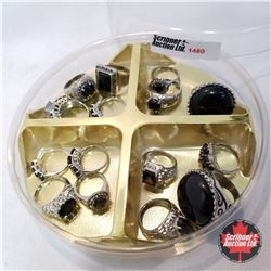 Jewellery Grouping: 15 Piece Black & Silver Theme Assorted Sizes