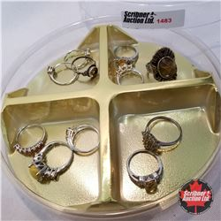 Jewellery Grouping: 10 Rings Yellow & Silver (Asst Sizes)