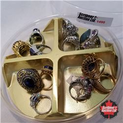 Jewellery Grouping: 12 Rings Blue Theme (Asst Size)