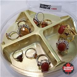 Jewellery Grouping: 10 Rings Orange Theme (Asst Size)