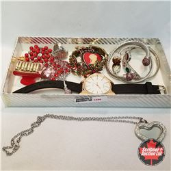 Jewellery Grouping: 3 Rings (Asst Size); 3 Brooches; 1 Hair Clip 1 Watch; 1 Necklace; 4 Bracelets
