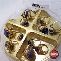 Jewellery Grouping: 12 Rings Blue & Gold Theme (Asst Size)