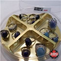 Jewellery Grouping: 12 Rings Blue & Silver Theme (Asst Size)