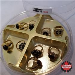 Jewellery Grouping: 9 Rings Black & Gold Theme (Asst Size)