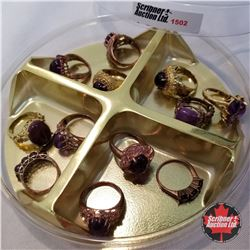 Jewellery Grouping: 12 Rings Purple & Gold Theme (Asst Size)