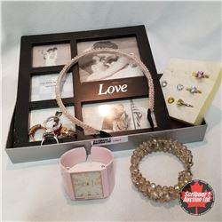 Jewellery Grouping: Love Photo Frame; 1 Bracelet; 1 Headband; 1 Watch; 2 Pair Earrings; 7 Rings (Ass