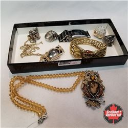 Jewellery Grouping: 1 Watch; 1 Owl Bracelet; 2 Owl Necklaces; 4 Owl Rings (Asst Size)