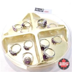 Jewellery Grouping: 12 Rings Purple & Silver Theme (Asst Size)