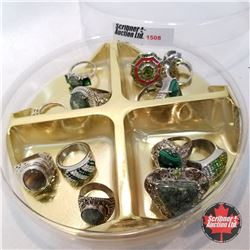 Jewellery Grouping: 12 Rings Green & Silver (Asst Size)