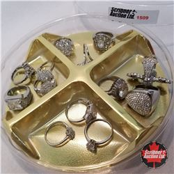 """Jewellery Grouping: 13 Rings Diamond & Silver (""""Asst Size)"""
