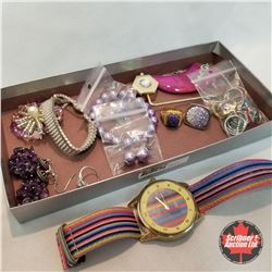 Jewellery Grouping: 1 Purse Holder; 1 Watch; 1 Brooch; 2 Bracelets; 2 Necklaces; 3 Rings (Asst Size)