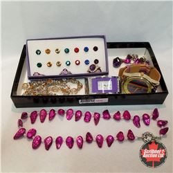 Jewellery Grouping: 2 Watches; 4 Rings (Asst Size); 9 Pair Earrings; 2 Necklaces