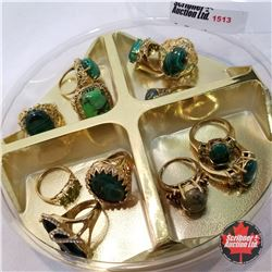 Jewellery Grouping: 12 Rings Green & Gold (Asst Size)