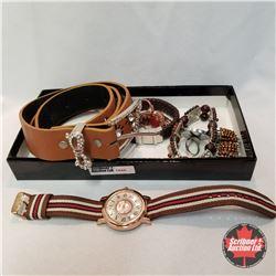 Jewellery Grouping: 1 Belt; 1 Watch; 3 Bracelets; 4 Rings (Asst Size)
