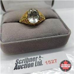 Ring - Size 10: Prasiolite - 14k Overlay - Peridot - Sterling Silver