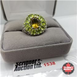 Ring - Size 10: Alexite Peridot - Sterling Silver - Platinum Bond Overlay