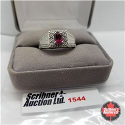 Mens Ring - Size 10: Garnet - Diamond (Platinum Bond)