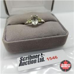 Ring - Size 10: Green Amethyst - Sterling Silver  - Platinum Bond Overlay