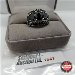 Ring - Size 10: Black Spinel - Sterling Silver