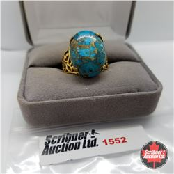 Ring - Size 7: Blue Turquoise - Sterling Silver - 18k ION Plated Bond Overlay Brass
