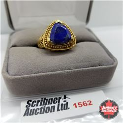 Ring - Size 7: Lapis Lazuli - Sterling Silver  - Platinum Bond Overlay