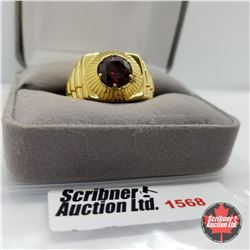 Mens Ring - Size 12: Garnet - Sterling Silver - 18k ION Plated Bond Overlay Brass