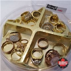 Jewellery Grouping: 17 Rings (Asst Size) Gold & Diamond