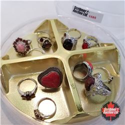 Jewellery Grouping: 14 Rings Red & Silver (Asst Size)