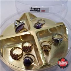 Jewellery Grouping: 9 Rings Purple Theme (Asst Size)