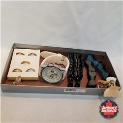 Jewellery Grouping: 6 Rings (Asst Size); 5 Hair Clips;; 1 Watch