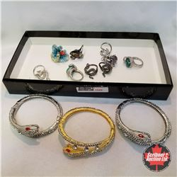 Jewellery Grouping (Includes Austrian Crystal) :  Serpent Theme 3 Bracelets; 9 Rings (Asst Size)