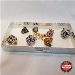 Jewellery Grouping (Includes Austrian Crystal):  8 Cat Theme Rings (Asst Size)