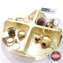 Jewellery Grouping: 13 Red Themed Rings (Asst Size)