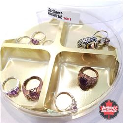 Jewellery Grouping: 9 Amethyst Rings (Asst Size)