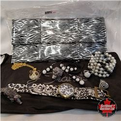 Jewellery Grouping:  1 Clutch Purse; 2 Bracelet; 1 Watch; 5 Rings; 1 Necklace