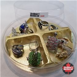Jewellery Grouping (Austrian Crystal) : 11 Rings (Asst Size) Fish; Bugs; Dragons; Turtles
