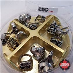 Jewellery Grouping:  14 Rings - Stainless Steel (Asst Size) Mens; Animals; Skulls