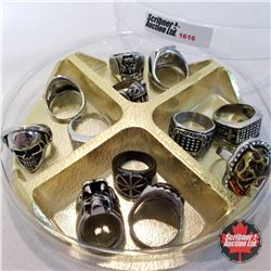 Jewellery Grouping: 12 Rings - Stainless Steel (Asst Size) Masculine