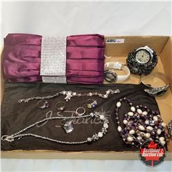 Purse Grouping: Purple & Crystal Clutch; 2 Watches; 4 Bracelets; 2 Necklaces; 5 Rings;
