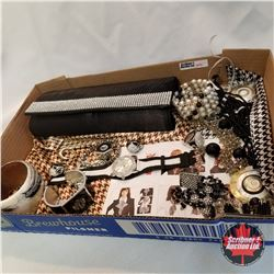 Purse Grouping: Black & Crystal Clutch; 2 Watches; 3 Necklaces; 1 Pair Earring; 1 Purse Holder; 4 Br