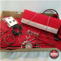 Purse Grouping: Red & Crystal Clutch; 1 Headband; 2 Necklaces; 1 Watch; 3 Bracelets; 1 Pair Earring;